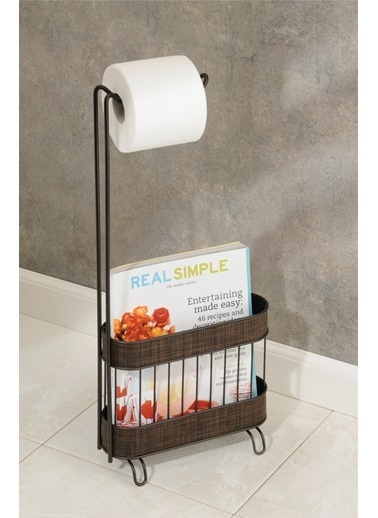 Bosphorus 26 X 10 X 60 Cm Demir Ayaklı Detaylı Dergilik Bölümü Tekli Rulo Tutacaklı Tuvalet Kağıdı Standı Kahve